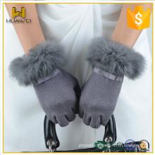 Gants de laine à écran tactile pour femmes à la vente chaude et à la fourrure avec fourrure de lapin