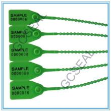 Selo plástico de segurança com código de barras e número de série GC-P001