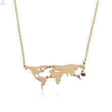 Personalize Statement Map Pendant World Necklace