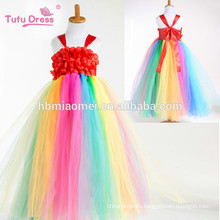 Rainbow Flower Girl Tutu Dress Long Princess Tulle Girls Dress For Birthday Wedding Party Festival Kids Halloween Costume