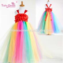 Rainbow Flower Girl Tutu Vestido Longo Princesa Tulle Meninas Vestido Para Festa de Casamento de Aniversário Festival Crianças Traje de Halloween