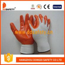 13 Gauge Orange Nitrile White Coated Gloves Dnn334