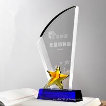 Peças baratas por atacado do troféu da estrela do cristal de vidro para a lembrança