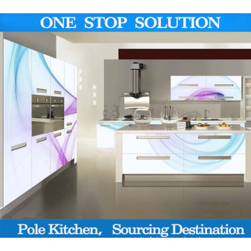 Pole Cabinet de cuisine moderne avec cabine de cuisine 3D à haute luminosité