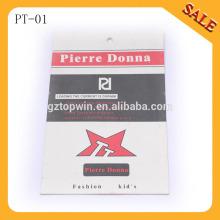PT01 Тисненый логотип одежды высокого качества бумаги стороны теги, печатные цена висит тег