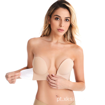 Invisível pegajoso Push up Silicone u shape Bra