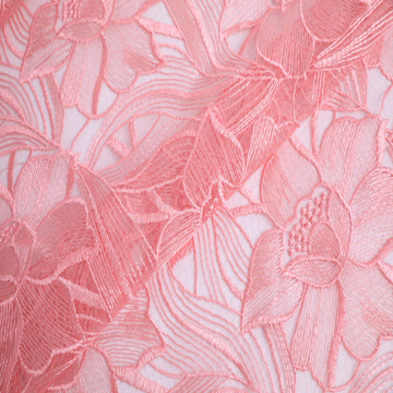 Hot Selling Lt Pink Flower Haft Fabric