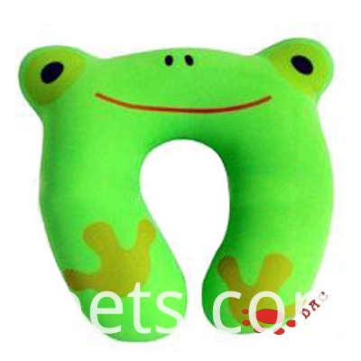 plush green frog neck pillow