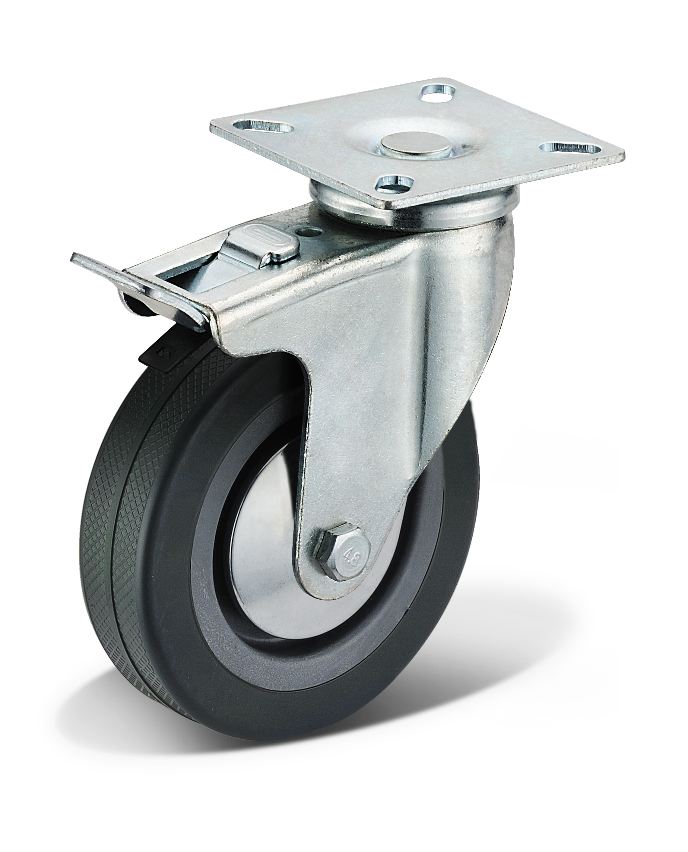 PVC Flat Bottom Double Brake Casters