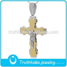 En gros deux ton lourds prière Jésus 316 en acier inoxydable catholique Saint Benoît Croix pendentif pour chapelet