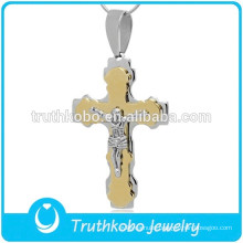 Wholesale Two Tone Heavy Prayer Jesus 316 Stainless Steel Catholic Saint Benedict Cross Pendant for Rosary