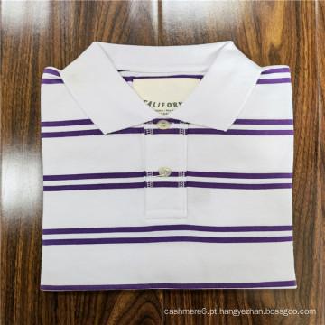 Camiseta polo de lapela de manga curta de algodão listrado de poliéster