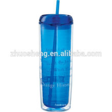 hot sale Acrylic 16oz double wall straw cup with dome lid and straw/double wall tumbler