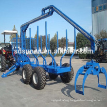 CE approved tractor timber trailer with crane, logging trailer with grapple CE Approved!! log trailer with crane/timber loading machine