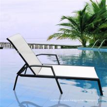 Outdoor white plastic sun lounger