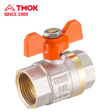 Butterfly handle internal thread brass ball valve