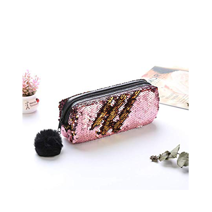 Sequin Pink And Gold Pencil Case 1