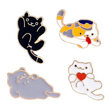 귀여운 고양이 Enamel Brooch Pin for Clothing