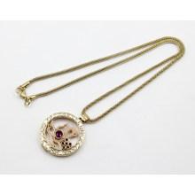 Moda de oro de chapa de acero inoxidable vivos Locket collar colgante