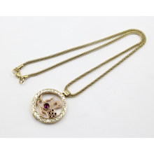 Fashion Gold Plating Stainless Steel Living Locket Pendant Necklace