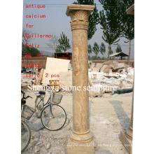 Columna de escultura de piedra antigua (SY-C008)