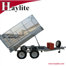 8x5 fully weld galvanized tractor tipper box cage trailer OEM factory