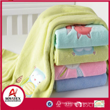 New Design Embroidery Different Animal Pattern coral fleece blanket and Organic Baby Blanket