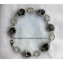 Pulseras de la joyería de plata cuarzo místico (BR793098)