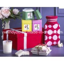 Bougie de cire de soja parfumée de luxe dans un pot en verre avec boîte cadeau