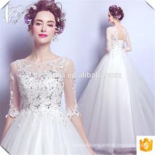 Chic Crystal Beading Lace Up Back Long Trian Customized Wholesale Noivas Vestidos Vestidos De Noiva Wedding Gown