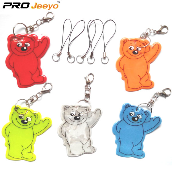 Reflective Bear PVC Keychain For Safety Use RV-203 6