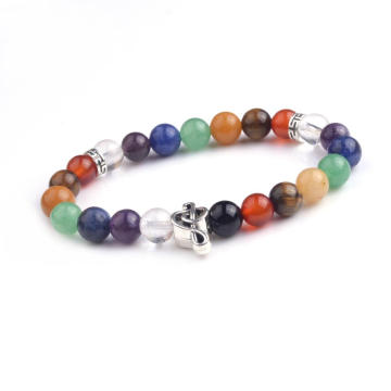 Wholesale 7 Chakra Stone Beads Men's Round Beads Bracelet with Music Symbols Bracelet