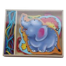Pädagogische Hölzerne Schnürung Puzzle Hölzerne Spielzeug