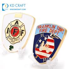 Wholesale no minimum custom design metal recessed logo souvenir double sided department firefighter challenge coin