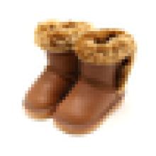 Soft PU miúdos meias botas de neve do inverno botas