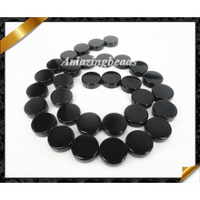 Natural Jewelry, Black Onyx Flat Round Stone Beads Wholesale (AG015)
