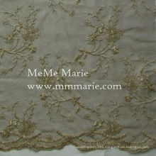 Golden Floral Embroidery Lace Bridal Wedding Lace Curtain Lace 52'' No.CA402(TAUP+KG)