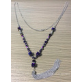 Colourful Tassel Metal Necklace with Glass