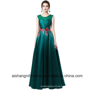 Langes A-Line-Blumen-Kappen-Hülsen-formales Abend-Abschlussball-Kleid