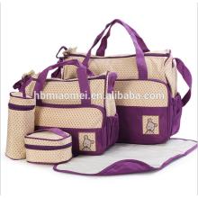 2017 bolsa de pañales de suministro de fábrica establece 5 piezas de alta capacidad bolso de pañales de la manera signle Hombro cruz diagonal bolsa de pañales de bebé