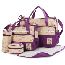 2017 factory supply diaper bag sets 5 pcs set High capacity fashion diaper bag signle Shoulder diagonal cross baby diaper bag