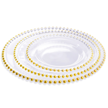 Clear Beaded Glass Charger Plate With Gold Rim