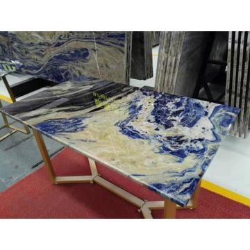 Meja retectangle sodalite biru semi berharga