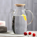 Hand made glass water jug, carafe with stainless steel strainer lid,glass water carafe