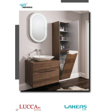 Vanity de salle de style moderne Vanity Horizontal Porte-plaqué en noyer américain avec panier de fil Grande unité