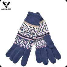 Senhoras moda inverno jacquard malha cinco dedos luva