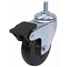 Roulette en caoutchouc fileté avec double frein (noir)