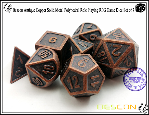 Bescon New Style Antique Copper Solid Metal Polyhedral Role Playing RPG Game Dice Set (7 Die in Pack)-5