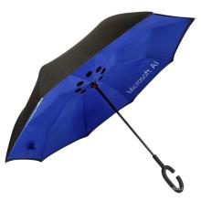 Werbelogodruck Großhandel umgekehrter Anti-Wind-Regenschirm