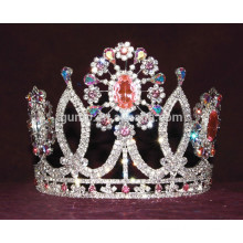 colorful rhinestone flower tiara custom crystal crown